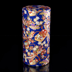 Japanese tea box made of washi paper, RIBBON, blue
