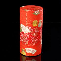 Japanese orange tea caddy in washi paper, YUZEN SHIKI, 200 g