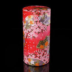 Japanese tea box made of washi paper, HANA, red and pink