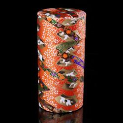 Japanese orange tea box made of washi paper, YUZEN TSURU, 200 g