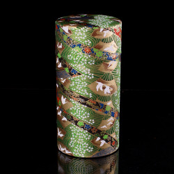 Japanese tea box made of washi paper, GRUES, green