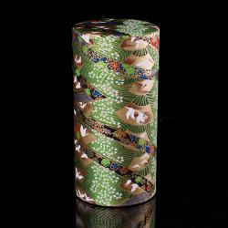 Japanese tea box made of washi paper, TSURU, green