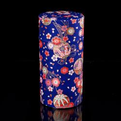 Japanese tea box made of washi paper, TEMARI, blue