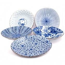 set of 5 Japanese round plates , AIE KAWARI, blue and white