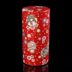 Scatola da tè giapponese in carta washi, BALLES, rosso