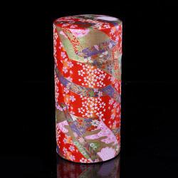 Caja de té japonesa de papel washi, RUBANS, roja