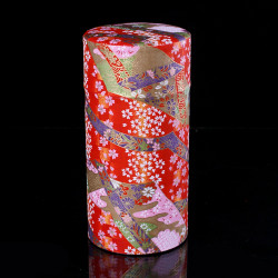Japanese tea box made of washi paper, RUBANS, red