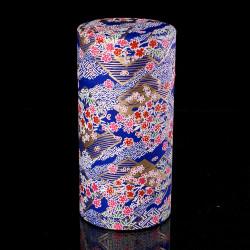Scatola da tè giapponese in carta washi, LOSANGES, blu