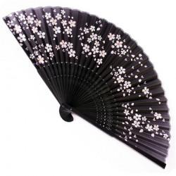 Eventail noir japonais, soie et bambou sakura