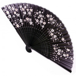 japanese fan - paper and bamboo - sakura black