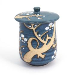 tasse à thé bleue avec couvercle en céramique Ume