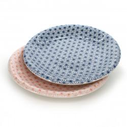 set de 2 assiettes traditionnelles japonaises avec motifs ASANOHA