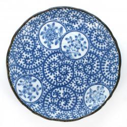 assiette japonaise bleue en céramique ronde karakusa