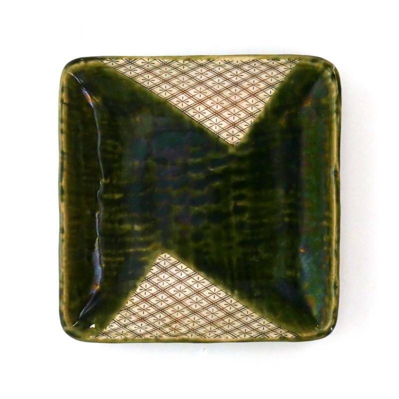 assiette japonaise en céramique carrée Oribe MYA24624625033