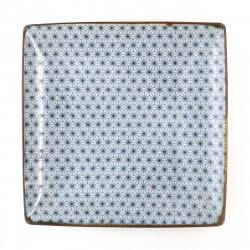 japanische quadratische Platte, SASHIKO ASANOHA, weiß und blau
