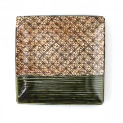japanische quadratische Platte, ORIBE KOUSHI, grün