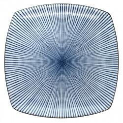 medium-sized square plate blue SENDAN TOKUSA