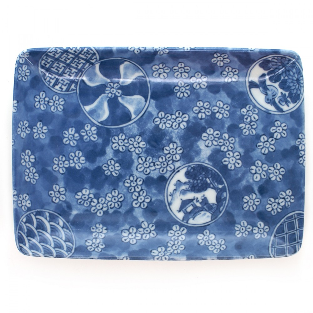 rectangular plate for japanese skewers blue MARUMON