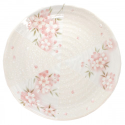 medium-sized round plate sakura flower patterns white SAKURA