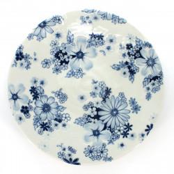 assiette japonaise de taille moyenne ronde motifs fleurs FLOWER