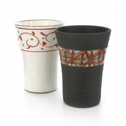 set de 2 tasses traditionnelles japonaises avec motifs rouges TEWAZA AKAE