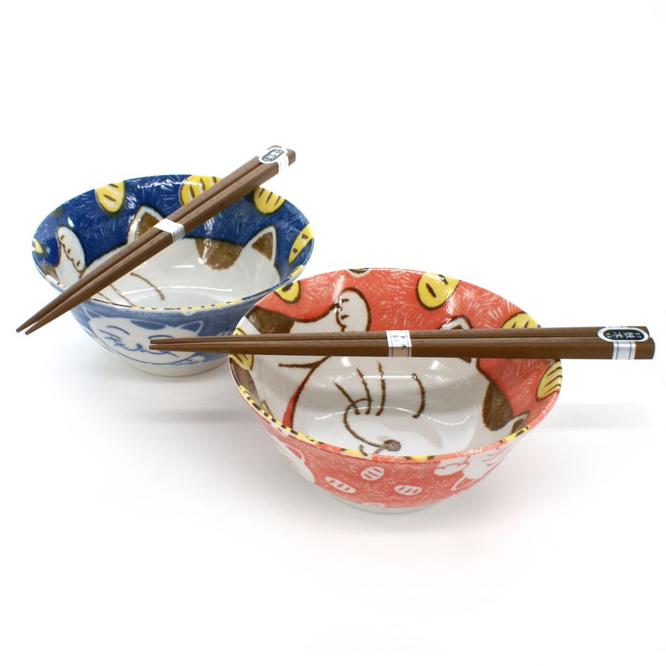 2 rice bowls set with cat pictures and pairs of chopsticks red and blue NEKO