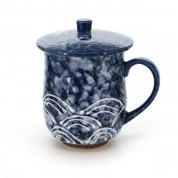 tasse traditionnelle japonaise à thé avec couvercle SEIGAIHA