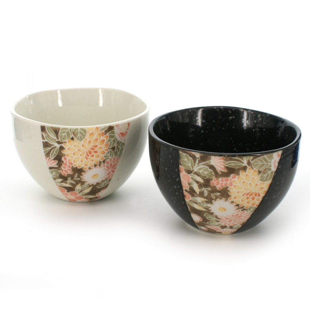 pair of teacups with flower patterns black and white YÛZEN