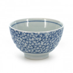 tea cup with sakura flower patterns blue KYÔSAKURA