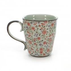 tasse traditionnelle japonaise avec motifs de fleurs rouges SUIÎTO AKA