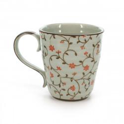 tasse traditionnelle japonaise avec motifs de fleurs rouges SABI KARAKUSA AKA