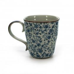 tasse traditionnelle japonaise avec motifs de fleurs bleues SUÎTO AOI