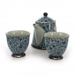 set de théière et 2 tasses traditionnelles japonaises avec motifs bleus KOZOME TSURU KARAKUSA