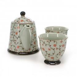 set de théière et 2 tasses traditionnelles japonaises avec motifs fleurs rouges KOZOME KARAKUSA AKA