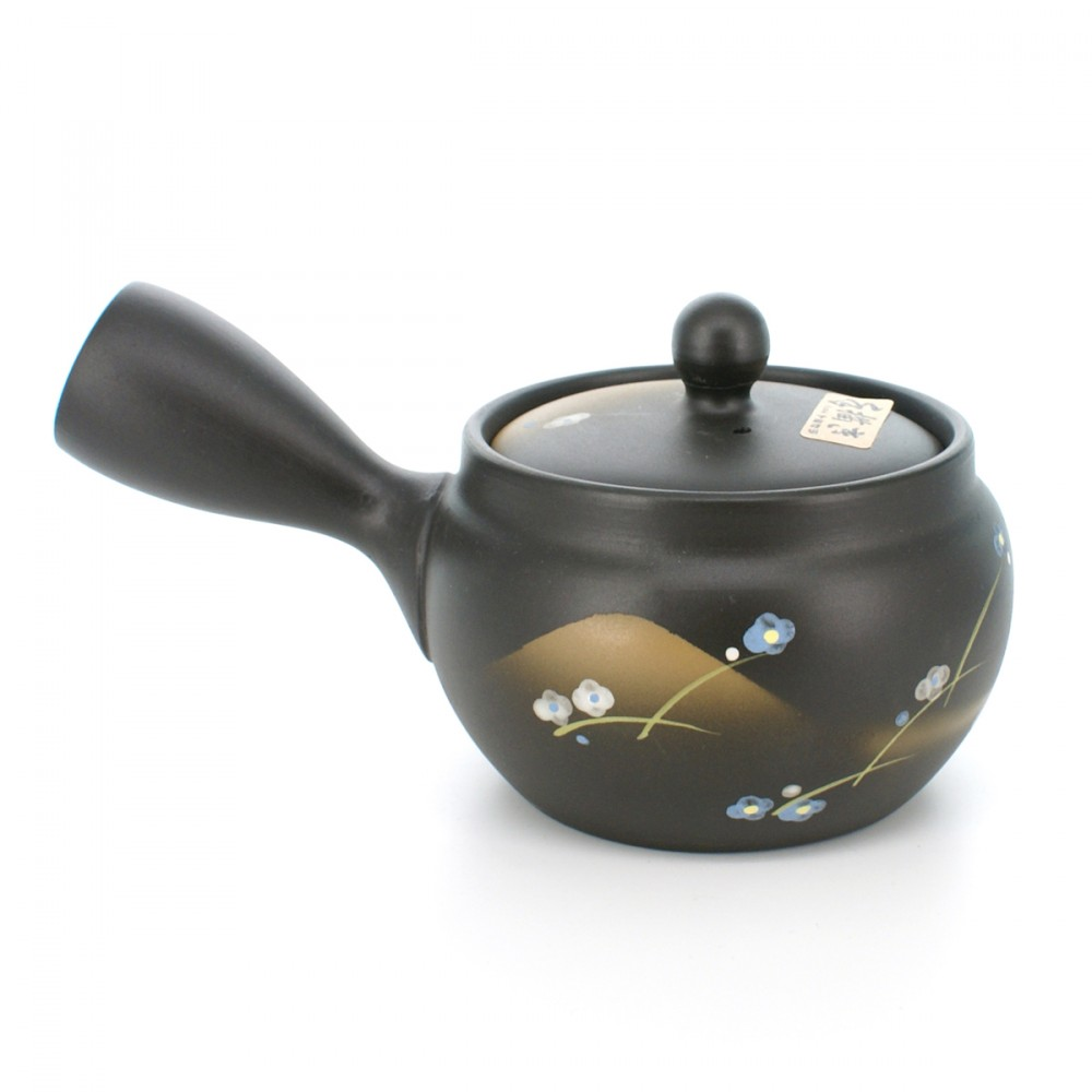 teapot with flower patterns black KURODORO AOJIRO HANA