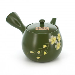 teapot with sakura flower patterns green MIDORIDORO SAKURA