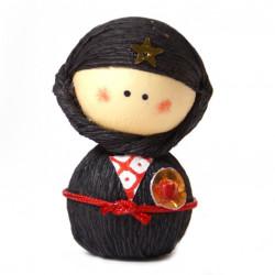 muñeca japonesa de papel - okiagari, NINJYA, Negro
