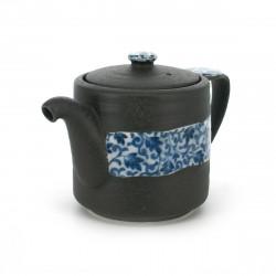 théière traditionnelle japonaise avec motifs fleurs bleues OBI KARAKUSA