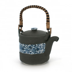 teapot with blue flower patterns grey KUROIGA KARAKUSA