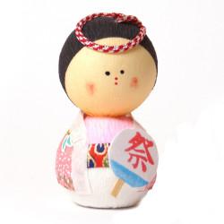 bambola giapponese okiagari protettore, OMATSURI, donna