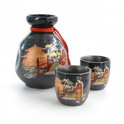 service à saké bouteille et tasses traditionnelles images pavillon doré MAIKO KINKAKUJI