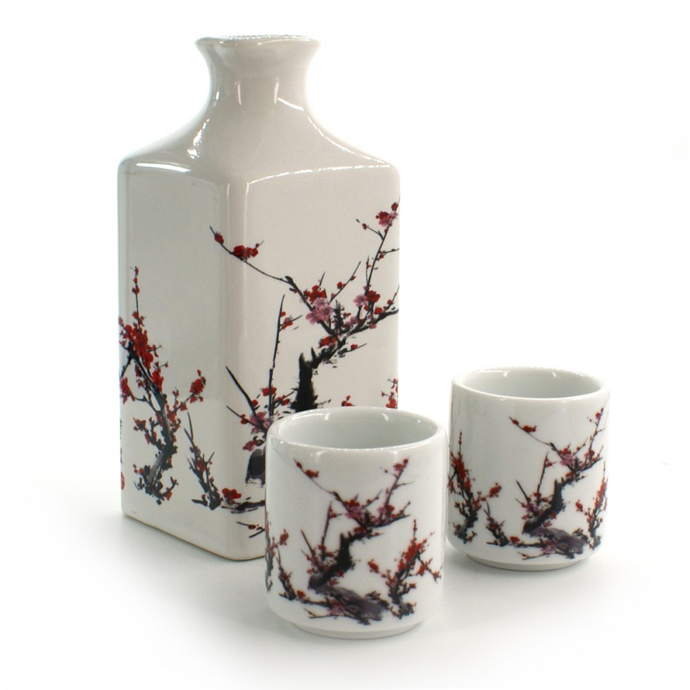 bottle and two sake cups set with plum flower pictures white FURUKI UME