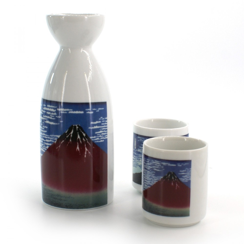 bottle and two sake cups set with fujisan pictures white GAIFÛKAISEI AKAFUJI