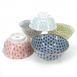set de 5 bols traditionnels japonais avec motifs ASANOHA