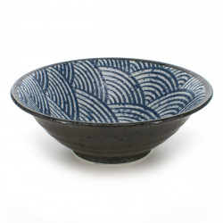 bowl for râmen or tsukemen with blue patterns black SEIGAIHA