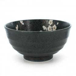 rice bowl for any type of use black SAKURA FLOWER