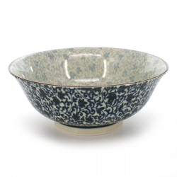 bowl for râmen or tsukemen with blue patterns white KARAKUSA