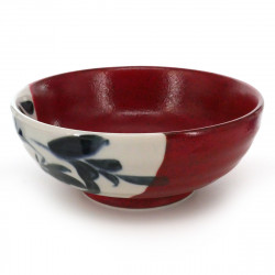 bowl for râmen with blue patterns red AKA KESSHÔ KARAKUSA KOSHIBARI