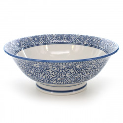 large-sized bowl for râmen or tsukemen with blue tako patterns blue TAKO-KARAKUSA