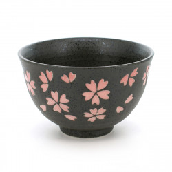 rice bowl with pink sakura flower patterns black TENMOKU HANAMATSURI